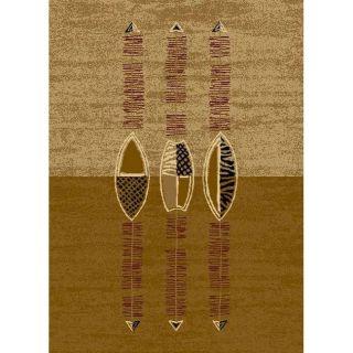 Alexa Cameo Brown Africana Tribal Print Rug (53 x 79)
