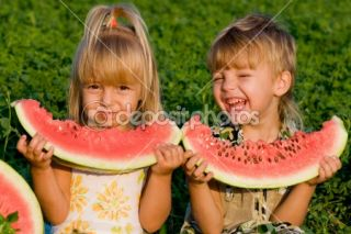 Little girl and boy with watermelon  Stock Photo © Denys Prokofyev