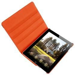 Orange 360 degree Swivel Leather Case for Apple iPad 2
