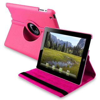 Hot Pink 360 degree Swivel Leather Case for Apple iPad 2
