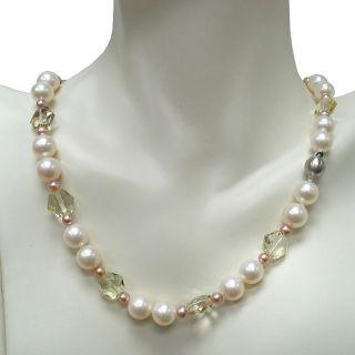 14k Gold Freshwater Pearl and Lemon Quartz Necklace (10 10.5 mm