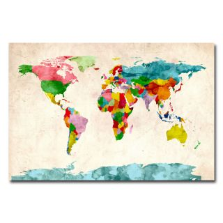 Michael Tompsett Watercolor World Map Canvas Art Today $49.99 Sale