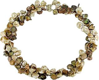 Cultured Brown & Gold Keshi Pearl Necklace (9 10mm)