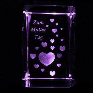 3D Laser Kristall Glasblock mit LED Beleuchtung   Motiv Herzen