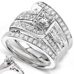 14k White Gold 1ct TDW 3 piece Diamond Bridal Ring Set (H I, I1 I2