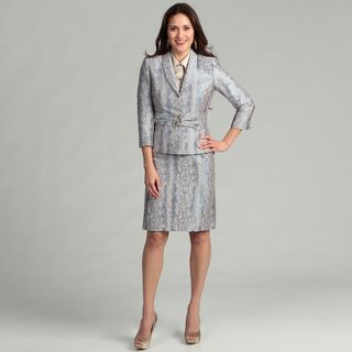 Tahari Womens Snake Skin Bead Detail Skirt Suit