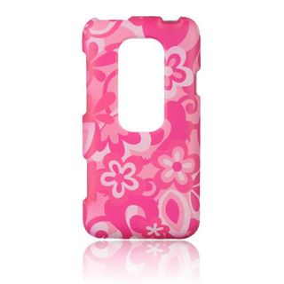 Luxmo Hot Pink with Flower Rubber Coated Case for HTC EVO 3D