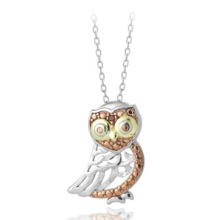 DB Designs Tri color Gold over Sterling Silver Red Diamond Owl
