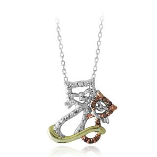 DB Designs Tri color Gold Over Silver 1/10ct TDW Red Diamond Cats