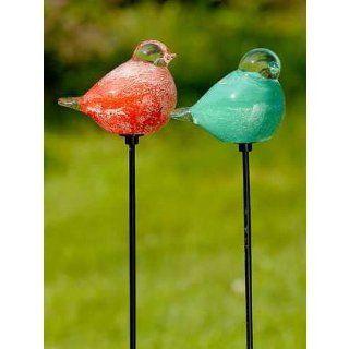 Gartenstab Gartenstecker Vogel aus Glas grün Küche