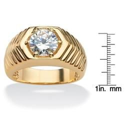 Ultimate CZ 14k Goldplated Round cut Cubic Zirconia Chevron Ring
