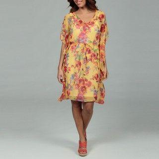 Glamour Womens Yellow Floral Chiffon Dress