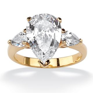 Ultimate CZ 14k Goldplated Pear shaped Cubic Zirconia Ring