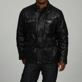 Sean John Mens Black Belted Leather Coat FINAL SALE