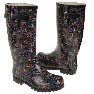 Nomad Black Multi Peace Puddle Snow / Rain Boots Size 9