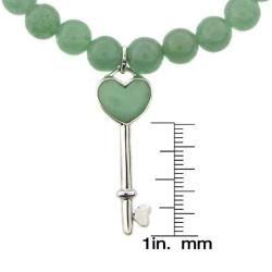 Sterling Silver Green Jade Heart Key Stretch Bracelet