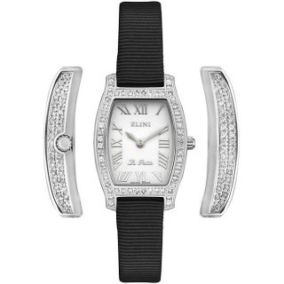 Elini Womens La Petite Full Diamond Black Strap Watch