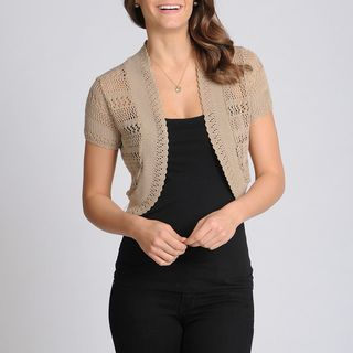 Lennie for Nina Leonard Womens Sandalwood Crochet Shrug