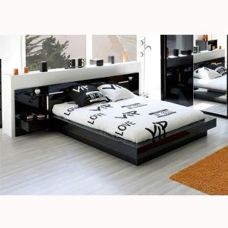GALAXY Environnement de lit Noir brillant   Achat / Vente CHAMBRE