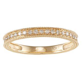 10k Yellow Gold 1/6ct TDW Engraved Diamond Band (G H, I1 I2