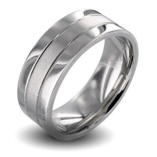 Polished Stainless Steel Mens Brushed Center Wedding Band
