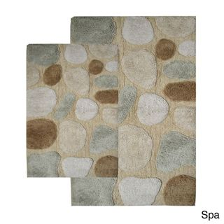 Rockway Collection Cotton Non Skid Stone Design Bath Rugs (Set of 2