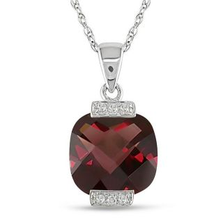10k White Gold Diamond and Garnet Pendant