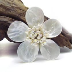 White Plumeria Mother of Pearl Freshwater Pearl Floral Pin Brooch