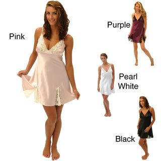 Alexander Del Rossa Silk Lace Trim Chemise Nightgown