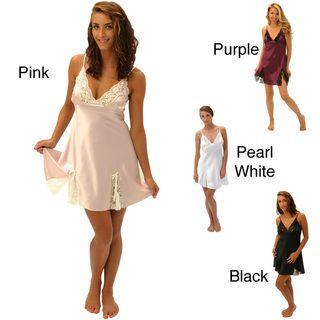 Alexander Del Rossa Silk Lace Trim Chemise Nightgown