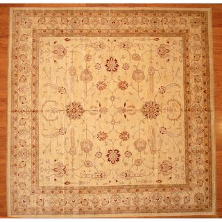 Afghani Hand knotted Oushak Vegetable Dye Ivory/ Red Wool Rug (13 x