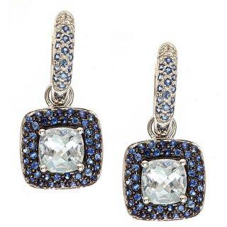 Yach 10k White Gold Aquamarine and Sapphire Earrings