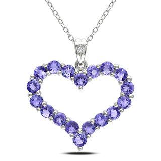 Miadora Sterling Silver Tanzanite and Diamond Necklace (H I,I3