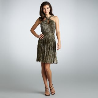 Muse Womens Gold Shimmery Twisted Neck Dress Today: $79.99