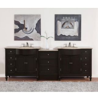 Silkroad Exclusive 95 inch Travertine Stone Top Double Vanity