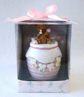 Baby Keepsake: Set of 12 Girl Teddy Bear on Honey Jar