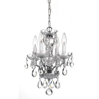 Transitional 4 light Chrome and Crystal Chandelier