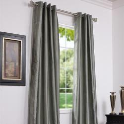 Grommet Striped Seafoam Faux Silk Jacquard 106 inch Curtain Panel