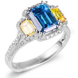 18k Gold 3 1/10ct TDW Blue and Canary Color Enhanced Diamond Ring (F G