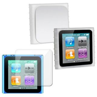 White Silicone Case/ Screen Protector for Apple iPod Nano 6th