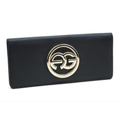 Anais Gvani Womens Italian Leather Logo Clutch Wallet