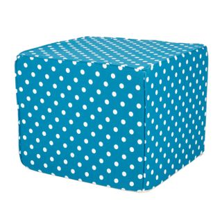 Brooklyn 16 inch Square Turquoise with Dots Indoor/Outdoor Ottoman
