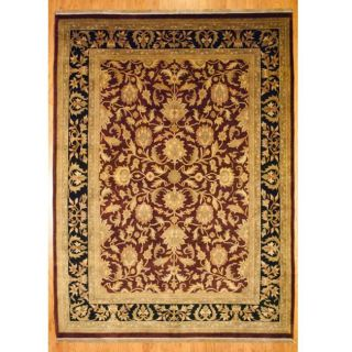 Indo Hand knotted Mahal Burgundy and Black Wool Rug (9 x 12