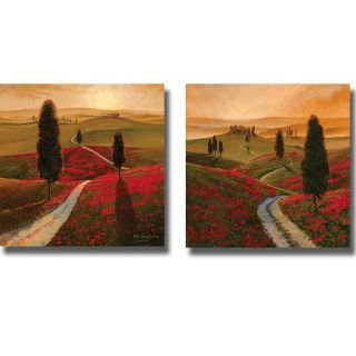 Thomas McGrath Tuscany and Poppies 2 piece Canvas Art Set