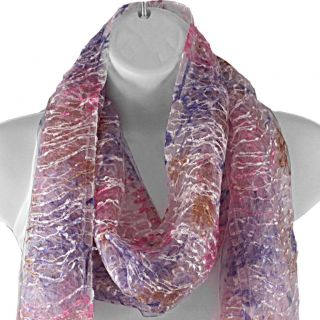 Hand spun Silk Pink Embroidered Beads on Threads Scarf (India