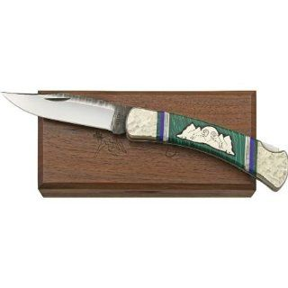 Brian Yellowhorse Knives 151 Custom Buck 110 Lockback Knife with Green