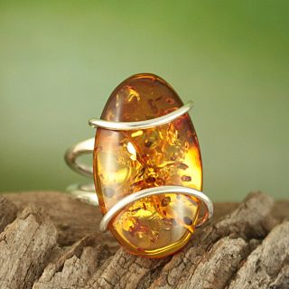 Sterling Silver Freeform Honey Baltic Amber Ring (Lithuania