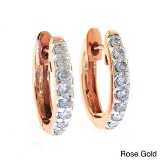 Beverly Hills Charm 10k Gold 1/2ct TDW Diamond Oval Hoop Earrings (H I