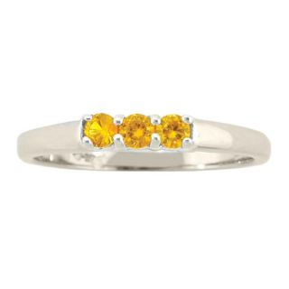 10k Gold November Birthstone Citrine 3 stone Ring