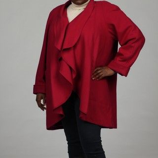Stephanie Mathews Womens Red Wool blend Coat